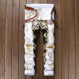 Wholesale Cool Color Paintings - Contrast Color Mens Flower Printed Jeans Pants Designer Punk Style Gothic Painted DJ club Night Slim Leg Cool White Robin Jeans For men
