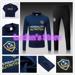 Wholesale Galaxy Uniforms - 2018 New Los Angeles Galaxy Soccer Training Suits Uniforms Shirts Football Santos Camiseta de Futbol LA Galaxy Winter Survetement Tracksuits