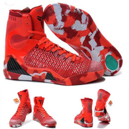 Wholesale Christmas Hand Work - (With shoes Box) Kobe 9 IX Bryant Elite High Christmas 630847-600 DS Brand New Prelude FTB Men KB Boots Shoes