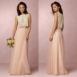 Wholesale country evening dresses - 2017 Country Style Blush Pink Two Pieces Lace Bridesmaid Dresses Soft Tulle Sheer Maid Of Honor Full Length Long Evening Gowns BA4154