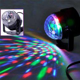 Wholesale led crystal magic ball light - Mini Crystal LED Light Voice Control Magic Ball Laser Lamp For KTV Bar Birthday Party Plastic Lights New Arrival 18ba B R