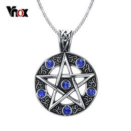 Новый урожай мужская Пятиточечная звезда пентаграмма очарование кулон ожерелье синий CZ бриллиантовое ожерелье мужчины ювелирные изделия бесплатно 24 дюймов цепи от