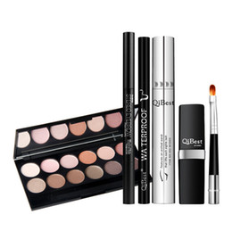 Wholesale Makeup Sets China - QiBest Makeup 6 Sets Mascara + Eyebrow Pencil + Eye Shadow Pen + Eyeliner Pencil + Lipstick + Lip Brush Top Quality China Famous Brand