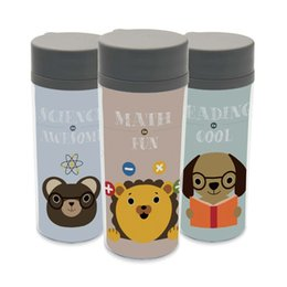 Wholesale Kawaii Water Bottle - Plastic Insulated Animal Cute Kid Water Bottle 300ml Art Gift BPA Free Personalized Abstract Bear Lion Dog Kawaii Wide Mouth Cup