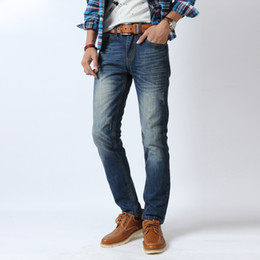 Wholesale Standard Cylinders - 2016 Hot Sale Men's Jean high quality Denim jeans leisure brand standard straight cylinder Mens Washing Zipper Jeans