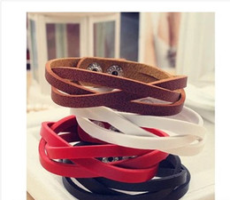 Wholesale Red Leather Braided Bracelet - Genuine Leather Bracelet Braided Leather Bracelet Braided Charm Wrap Leather Bracelet DIY Men Women Unisex Free shipping