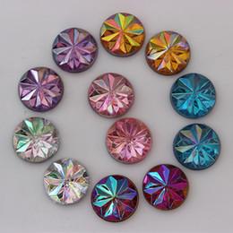 Wholesale flat back flower beads - 12mm 300PCS AB Color Acrylic Rhinestone Crystal Flat Back Beads Round Shape Pattern ZZ47