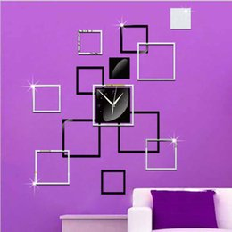 Wholesale decorative 3d wall art stickers - DIY creative fashion living room decorative acrylic mirror frame mirror Art Wall Stickers new 2016 European and American fashion