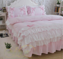 Wholesale Pink Full Comforter - Pink white luxury tail 4 layers twill Korean pure cotton ruffles princess bedding sets 4pcs quilt cover pillowcase bed skirt style
