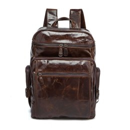 Wholesale Leather Backpack Camping - oil waxing cow leather tour bag 8963 Top layer cow leather two shoulders vertical backpacks OEM available