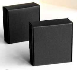 Wholesale Earing Boxes - 8*8*4cm Black Jewelry Paper Box Gift Packaging Ring Earing Necklace Packing Boxes for Christmas Wedding Birthday