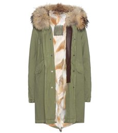 Wholesale Animal Coyote - Mr & Mrs Italy Coyote Fur-Lined Cotton Long Parka hood with raccoon collar women furs jacket in green