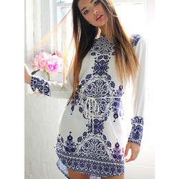 Wholesale Blue White Dress Porcelain - 2018 Summer Style New Fashion Blue and white porcelain Pattern Design Summer Dress Vintage Women Plus Size Dress Casual Dresses