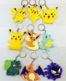 Wholesale Rings Elves - Popular Pikachu Pattern Key Chains Cartoon Key Rings Lovely Elves Anime Peripheral Decorations Double Sides PVC Silicone