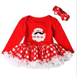 Wholesale Girls Santa Claus Clothing - Christmas Costume Baby Girls Tutu Dress and Headband Newborn Baby Girl Clothes Santa Claus Tutu Cake Dresses KKA2399