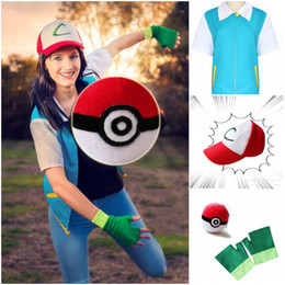 Wholesale Hat Male - 2016 Hot Halloween Costumes Poke Go High Quality Blue Cosplay Costume Jacket Gloves Hat Ash Ketchum Costume for Male Female Set CS004