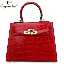 Wholesale Red Croc Bag - 2017 cappuccino new collection top grade croc Geniune leather bag handbag fashion small lock woman bags