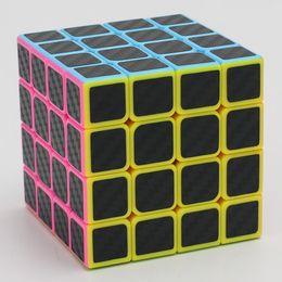Wholesale Carbon Fiber Cube - 4x4x4 Carbon Fiber Sticker Rubik Cube Speed Smooth Magic Fidget Cubes Profissional Competition Magic Cube For Children Gift