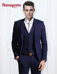 Wholesale Mens Tux Suit - Wholesale-Dark Blue Blazer Men Modern Fit 3-Piece Suit Blazer Jacket Mens Light Blue Suits Mens Pants Tux Vest & Trousers Set U125