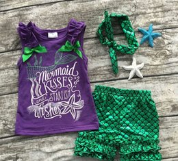 Wholesale Set Girl Retail - retail 2016 girls clothing purple green scale mermaid boutique short sets starfish kids Summer sleeveless clothes clothing with bow set