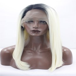 Wholesale Gold Lace Wig - kabell Fashion lace front wigs Long, loose black women with long black long hair gold 1 # 613 # straight hair synthetic wigs heat-resistant