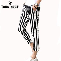 Wholesale Thin Summer Pants - Wholesale-Pantalon Homme 2016 Men's Casual Striped Pants Summer Thin Cool Trousers Male Mid-waist Drawstring Ankle-Length Men Pants MKX951