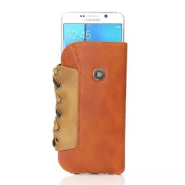Wholesale Leather Cellphone Holsters Iphone - Retro Elephant Grain Weave Style Waist Bag 5.5 inch With Hang Buckle PU Leather Universal Flip Holster Phone Pouch For Cellphone OPPBAG