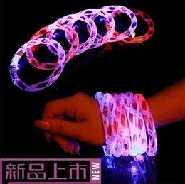 Wholesale Neon Acrylic Led - Acrylic LED flash bracelet neon electronic glow bracelets toys 30pcs lot