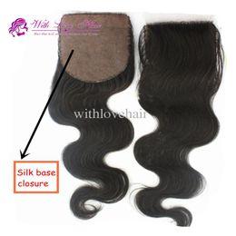Wholesale Hair Silk Products - Free Shipping 4*4 inch Cheap Peruvian Virgin Human Hair Body Wave Hidden Knots Silk Base Closure Piece With Love Hair Products