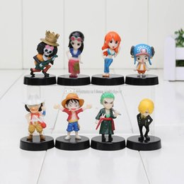 Wholesale One Piece Figures 5cm - 8pcs lot One Piece figure Luffy Nami Robin Chopper Sanji Zoro Brook cute mini pvc figure dolls with base approx 5cm
