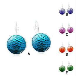 Wholesale cuffs pink - Handmade Druzy Fish Scale Pattern Earrings Drusy Resin Beads Round Earrings Time Gem Cabochon Mermaid Fashion Trendy Woman Jewelry Wholesale