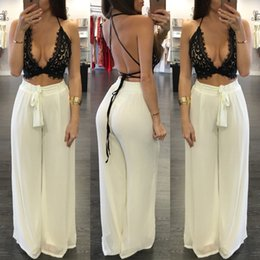 sexy lace outfits Coupons - 2018 summer bodycon two piece set women lace crop top bangdage sexy plus size women strap clothing outfits loose pant sets