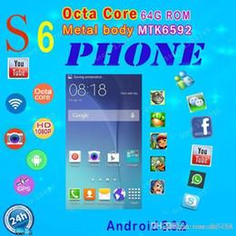 "Wholesale Dual Sim Logo - MTK6582 Quad Core 64G Rom S6 Phone G920 Android 5.0 Original Logo 13MP 5.1"" MTK6572 Dual Core G9200 Mobile phone Metal body GPS WIFI"