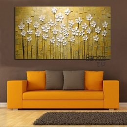 Wholesale knife flower painting - Little White Flowers Hand Painted Palette Knife Oil Painting on Canvas Modern Simple Wall Art Home Decoration