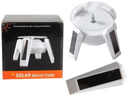 Wholesale Solar Power Display Stand - Cellphone 360 Degree Stand Mini Solar Power LED Light Display Rotating Table Jewelry Smart Watch Mobile Phone DHL Free OTH218