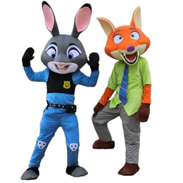 Wholesale Red Rabbit Costume - Zootopia Judy Nick fox rabbit mascot costume animal role playing clothing adult size is free shipping
