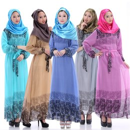 Wholesale Islamic Clothing Design - 2016 New Arrival Kaftan Islamic Muslim Abaya Women Chiffon Maxi Long Sleeve Dress Fashion Print Caftan Turkish Dubai design Clothing