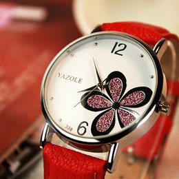 Wholesale Korean White Dress For Women - Korean Fashion Lady Watch Exiquisite Flower Design OL Famous Dress Watch for Woman Leather Band Big Round Dial Casual Watch
