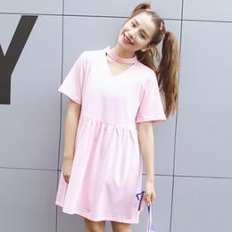 Wholesale New Chiffon China - cheap clothes china harajuku women dresses korean new kawaii cute rock summer dress 2017 pink sweet hollow V-neck sexy women