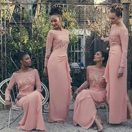 Wholesale Vestidos Color Melon - Elegant Long Sleeves Bridesmaid Dress Off the Shoulder Slit on Back Wedding Guest Dresses Chiffon Vestidos de Festa