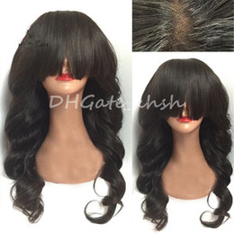 Wholesale Long Chinese Bang Wigs - Wave Full Fringe Full Lace Human Hair Wigs With Bangs Peruvian Full Lace Wigs For Black Women Lace Front Wigs Wavy Bang Wig