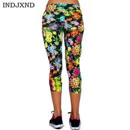 Wholesale Sexy Cropped Capri Pants - Wholesale- 2016 Gimnasio Sexy Sportswear Leggings Women Mid Calf Colorful Wild Flower Print trendy Capri For Skinny Pants Cropped Slim K058
