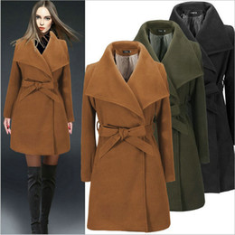 Wholesale Ladies Black Wool Coats - Wool Overcoat Women's Clothes Winter Coat for Ladies Outerwear Belt Lape Neck Blend Coat Fashion Casual Coats Misses Wear Trench Coat S-2XL
