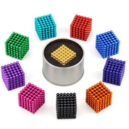Wholesale 5mm Bucky Ball - 16 Colors 5mm Size 216pcs Cube Magnetic Balls Magico Magnet Puzzle Decompression Toy Magnetic Bucky Cubes With Metal Box CCA8408 200pcs