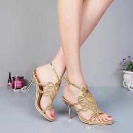 Wholesale Cheap Diamond Heels - Gold Wedding Shoes Hand Made Set Auger High Heels Diamond Rhinestone Bridal Shoes A Word Flowers Women Sandals Cheap Crystal Shoes 2015