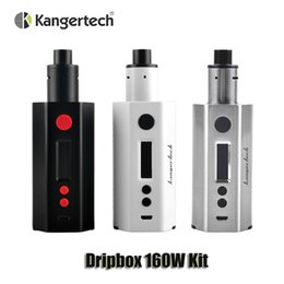 Wholesale Dripping Kit - 100% Original Kangertech Dripbox 160W Starter Kit Dual 18650 battery Kanger TC 160 Box Mod 7ml Atomizer with MTL and DL drip tip