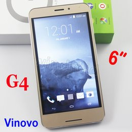 Wholesale Sim Card 3g Wcdma Phablet - G4 6 inch Android 4.4 Cell phone MTK6572 Dual Core 512 4GB Mobile Smart Phone 3G WCDMA unlocked gesture Wake Smartphone Phablet YBZ VINOVO