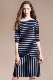 Wholesale Maxi Dress Belt White - Spring and summer new short-sleeved striped dress round neck collar belt Slim thin dress vestidos maxi ukraine summer dresses03
