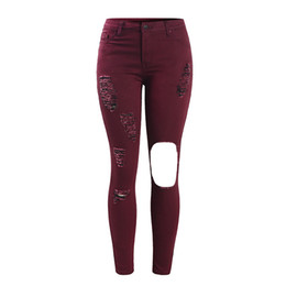 Wholesale Tear Jeans For Women - Women`s Plus Size Mid High Waist Torn Hole Burgundy Denim Pants Ripped Jeans For Woman Free Shipping
