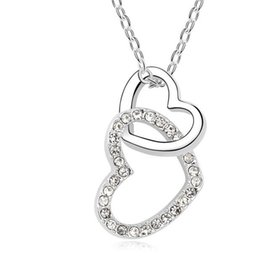 Wholesale Elements Crystal Heart Pendant - Wedding Jewelry Heart Crystal Pendant Fashion Necklace 18K White Gold Plated Make With Swarovski Elements FREE SHIPPING 6 colors 10391